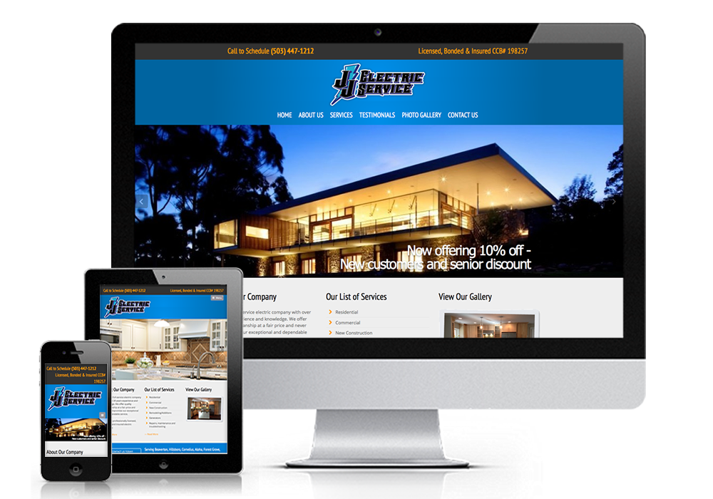 jj electric responsive website