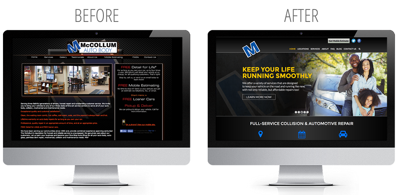 website before and after